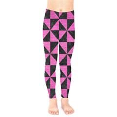 Triangle1 Black Marble & Pink Brushed Metal Kids  Legging