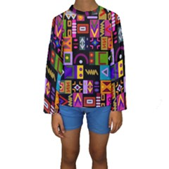 Abstract A Colorful Modern Illustration Kids  Long Sleeve Swimwear