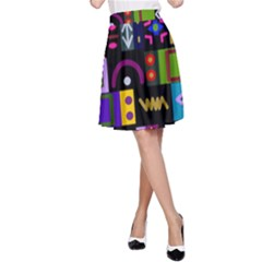 Abstract A Colorful Modern Illustration A Line Skirt