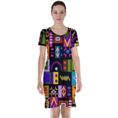 Abstract A Colorful Modern Illustration Short Sleeve Nightdress