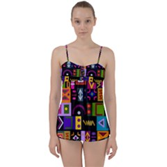Abstract A Colorful Modern Illustration Babydoll Tankini Set