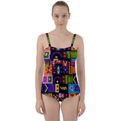 Abstract A Colorful Modern Illustration Twist Front Tankini Set