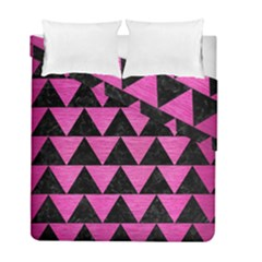 Triangle2 Black Marble & Pink Brushed Metal Duvet Cover Double Side (full/ Double Size)