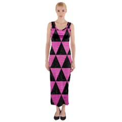 Triangle3 Black Marble & Pink Brushed Metal Fitted Maxi Dress