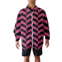 Chevron2 Black Marble & Pink Denim Wind Breaker (kids)