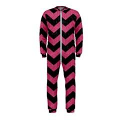 Chevron3 Black Marble & Pink Denim Onepiece Jumpsuit (kids)