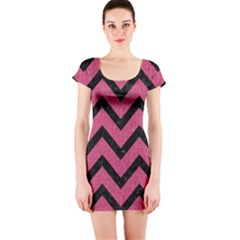 Chevron9 Black Marble & Pink Denim Short Sleeve Bodycon Dress