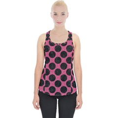 Circles2 Black Marble & Pink Denim Piece Up Tank Top