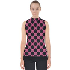 Circles2 Black Marble & Pink Denim Shell Top