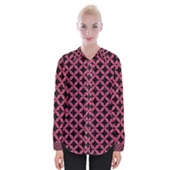 Circles3 Black Marble & Pink Denim (r) Womens Long Sleeve Shirt