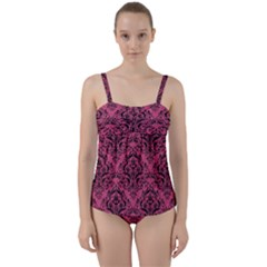 Damask1 Black Marble & Pink Denim Twist Front Tankini Set