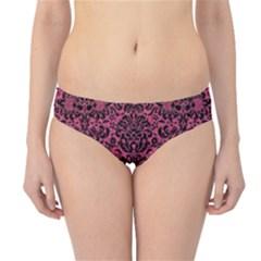 Damask2 Black Marble & Pink Denim Hipster Bikini Bottoms