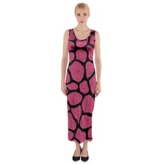 Skin1 Black Marble & Pink Denim (r) Fitted Maxi Dress