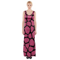 Skin1 Black Marble & Pink Denim (r) Maxi Thigh Split Dress