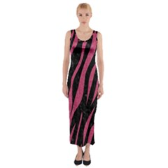Skin3 Black Marble & Pink Denim (r) Fitted Maxi Dress