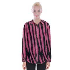 Skin4 Black Marble & Pink Denim Womens Long Sleeve Shirt