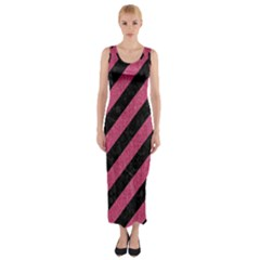 Stripes3 Black Marble & Pink Denim (r) Fitted Maxi Dress