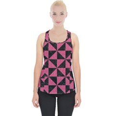 Triangle1 Black Marble & Pink Denim Piece Up Tank Top