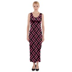 Woven2 Black Marble & Pink Denim (r) Fitted Maxi Dress