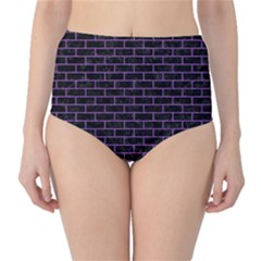 Brick1 Black Marble & Purple Denim (r) High Waist Bikini Bottoms