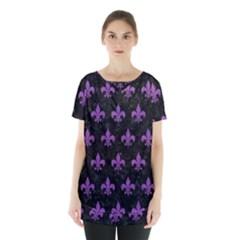 Royal1 Black Marble & Purple Denim Skirt Hem Sports Top
