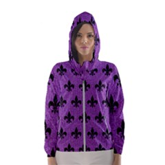 Royal1 Black Marble & Purple Denim (r) Hooded Wind Breaker (women)