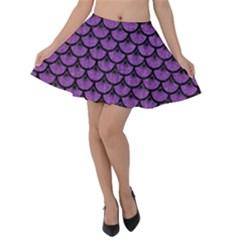 Scales3 Black Marble & Purple Denim Velvet Skater Skirt