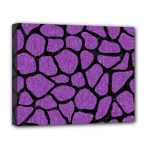Skin1 Black Marble & Purple Denim (r) Deluxe Canvas 20  X 16