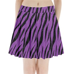 Skin3 Black Marble & Purple Denim Pleated Mini Skirt