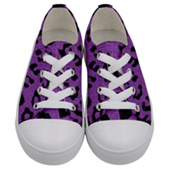Skin5 Black Marble & Purple Denim (r) Kids  Low Top Canvas Sneakers