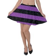 Stripes2 Black Marble & Purple Denim Velvet Skater Skirt
