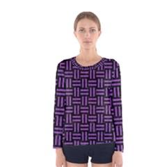 Woven1 Black Marble & Purple Denim (r) Women s Long Sleeve Tee