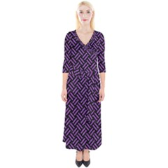 Woven2 Black Marble & Purple Denim (r) Quarter Sleeve Wrap Maxi Dress