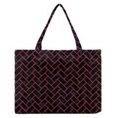Brick2 Black Marble & Red Denim (r) Zipper Medium Tote Bag