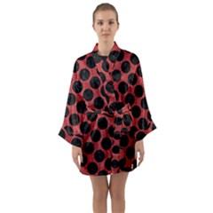Circles2 Black Marble & Red Denim Long Sleeve Kimono Robe