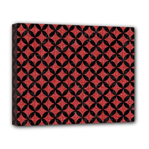 Circles3 Black Marble & Red Denim Deluxe Canvas 20  X 16