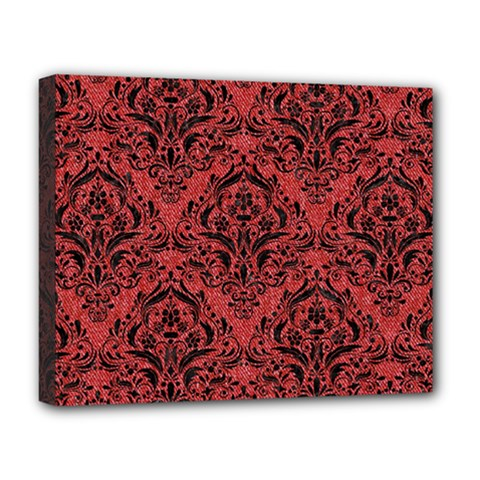 Damask1 Black Marble & Red Denim Deluxe Canvas 20  X 16