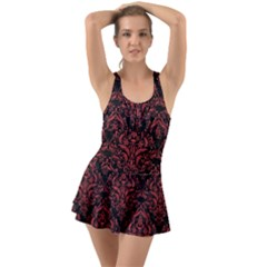 Damask1 Black Marble & Red Denim (r) Swimsuit