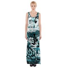 Graffiti Maxi Thigh Split Dress