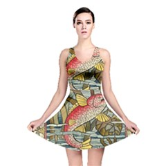 Fish Underwater Cubism Mosaic Reversible Skater Dress