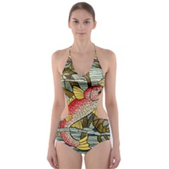 Fish Underwater Cubism Mosaic Cut Out One Piece Swimsuit