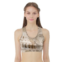 Colosseum Rome Caesar Background Sports Bra With Border
