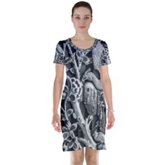 Black And White Pattern Texture Short Sleeve Nightdress