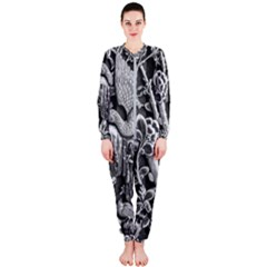 Black And White Pattern Texture Onepiece Jumpsuit (ladies)