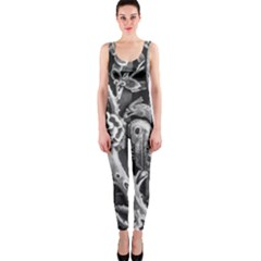 Black And White Pattern Texture Onepiece Catsuit