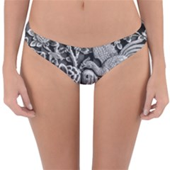 Black And White Pattern Texture Reversible Hipster Bikini Bottoms
