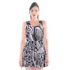 Black And White Pattern Texture Scoop Neck Skater Dress