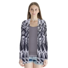 Black And White Pattern Texture Drape Collar Cardigan
