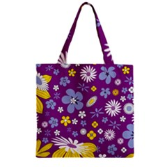 Floral Flowers Zipper Grocery Tote Bag