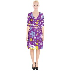Floral Flowers Wrap Up Cocktail Dress